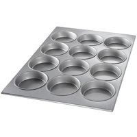 Chicago Metallic 45355 12 Cup Glazed Customizable Oversized Mini-Cake Muffin Pan - 18 inch x 25 7/8 inch