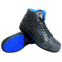 Genuine Grip 5010 Stealth Men's Size 7 Medium Width Black and Blue Laced Non Slip Shoe with Composite Toe and Side Zipper
