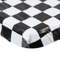 Creative Converting 37397 Stay Put Black Check 30 inch x 96 inch Rectangular Plastic Tablecloth with Elastic