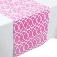 Creative Converting 317316 14 inch x 84 inch Candy Pink and White Plastic Table Runner