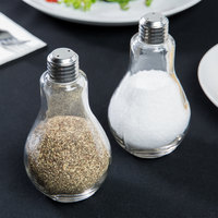 American Metalcraft SPLB9 8 oz. Glass Lightbulb Salt and Pepper Shaker Set