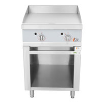 Cooking Performance Group 24GTSBNL Natural Gas 24 inch 2 Burner Griddle with Thermostatic Controls and Storage Base - 60,000 BTU