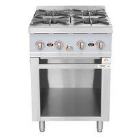 Cooking Performance Group 24-CPG-6BOB Natural Gas 24 inch 4 Burner Hot Plate with Storage Base - 88,000 BTU