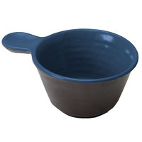 Elite Global Solutions D42RR-LAPCH Durango 10 oz. Lapis & Chocolate Two-Tone Melamine Handled Bowl - 6/Case