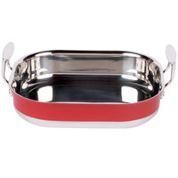 Tablecraft CW2030R 3.5 Qt. Red Tri-Ply Roast Pan