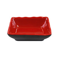 Elite Global Solutions JW3252T 2 oz. Karma Black and Red Two-Tone Melamine Sauce Dish