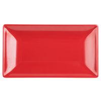 Elite Global Solutions JW952T 9 inch x 5 inch Karma Black and Red Rectangular Two-Tone Melamine Plate