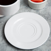 Elite Global Solutions D658 Simplicity 6 1/2 inch White Double Well Melamine Coffee Saucer - 6/Case