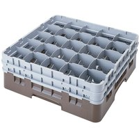 Cambro 25S1058167 Camrack 11 inch High Customizable Brown 25 Compartment Glass Rack