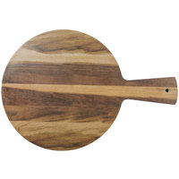 Elite Global Solutions M15RW Fo Bwa Round Faux Hickory Wood Serving Board with Handle - 15 inch x 1/2 inch