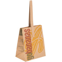 1/2 Peck Go Bananas - Sophomore Natural Brown Kraft Paper Produce Market Stand Bag with Handle - 500/Case