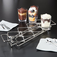 Clipper Mill by GET 4-82018 Stainless Steel 8 Square Compartment Dessert Caddy - 11 3/4 inch x 3 1/4 inch x 1 1/4 inch