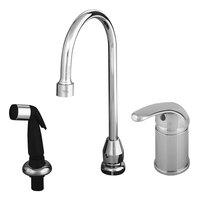 T&S B-2744 Single Lever Faucet with Remote On/Off Control Base, Rigid Gooseneck Assembly, Sidespray, and Flexible Stainless Steel Water Connectors ADA