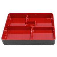 Elite Global Solutions JW11852T Karma 10 3/4 inch x 8 3/8 inch x 2 inch Black and Red Two-Tone Melamine Bento Box