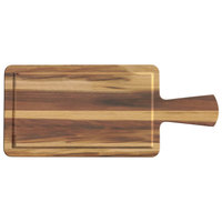 Elite Global Solutions M127RCFP Fo Bwa Rectangular Faux Hickory Wood Serving Board with Full Pocket and Handle - 12 inch x 7 inch x 1/2 inch