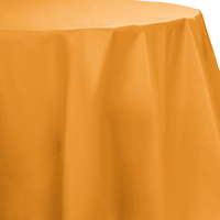Creative Converting 323379 82 inch Pumpkin Spice Orange OctyRound Disposable Plastic Table Cover - 12/Case