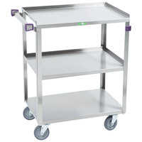 Lakeside 411A Medium-Duty Stainless Steel 3 Shelf Utility Cart with Purple Handle and Leg Bumpers - 16 3/4 inch x 27 5/8 inch x 32 inch