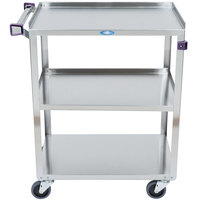 Lakeside 311A Standard-Duty Stainless Steel 3 Shelf Utility Cart with Purple Handle and Leg Bumpers - 16 1/4 inch x 27 1/2 inch x 32 1/8 inch