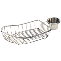GET 4-80117 Stainless Steel Boat Basket with Condiment Holder - 13 inch x 5 inch x 2 3/4 inch