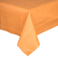Creative Converting 323378 54 inch x 108 inch Pumpkin Spice Orange Tissue / Poly Table Cover   - 6/Case