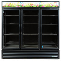 True GDM-72FC-HC~TSL01 78 1/8 inch Black Glass Door Floral Case
