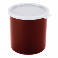 Cambro CP12195 Reddish Brown Round Crock with Lid 1.2 Qt. - 12/Case