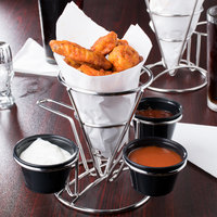 Clipper Mill by GET 4-96283 4 1/4 inch x 6 inch Stainless Steel Wire Cone Basket with 3 Ramekin Holders and Handle