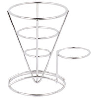 GET 4-88864 5 inch x 7 inch Stainless Steel Wire Cone Basket with Ramekin Holder