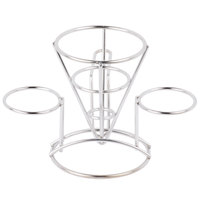 Clipper Mill by GET 4-96282 4 1/4 inch x 6 inch Stainless Steel Wire Cone Basket with 2 Ramekin Holders and Handle