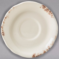 Homer Laughlin 57941301 Cottage Brun 4 3/4 inch Scalloped Edge A.D. Demitasse Saucer - 36/Case