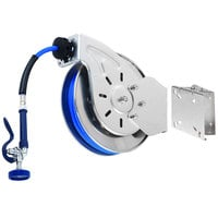 T&S B-7132-01-ESB 35' Open Stainless Steel Hose Reel with High Flow Spray Valve and Swing Bracket