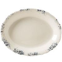 Homer Laughlin 52741300 Cottage Bleu 12 5/8 inch Scalloped Edge Oval Platter - 12/Case