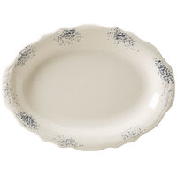 Homer Laughlin 52641300 Cottage Bleu 11 3/4 inch Scalloped Edge Oval Platter - 12/Case