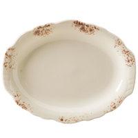 Homer Laughlin 52541301 Cottage Brun 9 7/8 inch Scalloped Edge Oval Platter - 24/Case