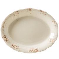 Homer Laughlin 52741301 Cottage Brun 12 5/8 inch Scalloped Edge Oval Platter - 12/Case