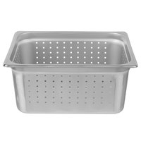 Choice 1/2 Size Standard Weight Anti-Jam Perforated Stainless Steel Steam Table / Hotel Pan - 6 inch Deep