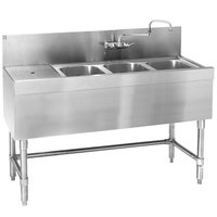 Eagle Group B4-3-L-24 Spec-Bar 48 inch x 24 inch 20 Gauge Three Bowl Stainless Steel Underbar Sink with 12 inch Left Drainboard