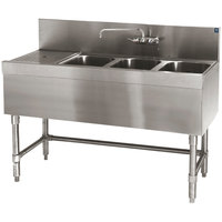 Eagle Group B5-3-L-19 Spec-Bar 60 inch x 19 inch 20 Gauge Three Bowl Stainless Steel Underbar Sink with 24 inch Left Drainboard