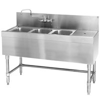 Eagle Group B6-3-R-24 Spec-Bar 72 inch x 24 inch 20 Gauge Three Bowl Stainless Steel Underbar Sink with 36 inch Right Drainboard
