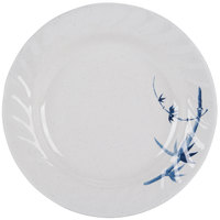 Thunder Group 1209BB Blue Bamboo 9 1/4 inch Round Melamine Curved Rim Plate - 12/Pack