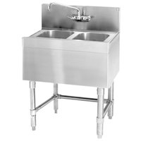 Eagle Group B2-2-19 Spec-Bar 24 inch x 19 inch 20 Gauge Two Bowl Stainless Steel Underbar Sink
