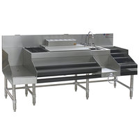 Eagle Group CCS-72 Spec-Bar 72 inch Stainless Steel Combination Cocktail Station with 12 inch Liquor Display and Recessed Workboard