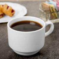 Syracuse China 950002507 Slenda 9 oz. Royal Rideau White Stacking Porcelain Tea Cup - 36/Case