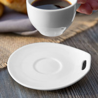 Syracuse China 905356120 Slenda Practica 4 3/4 inch x 4 1/2 inch Royal Rideau White Porcelain Saucer - 36/Case