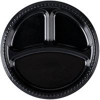 Dart Solo PS1CE-0099 10 1/4 inch 3-Compartment Black Premium Party Plastic Plate - 500/Case