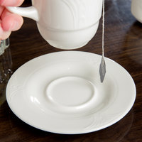 Syracuse China 950041436 Cafe Royal 5 5/8 inch Royal Rideau White Porcelain Tea Saucer - 36/Case