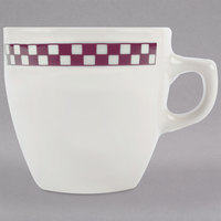 Homer Laughlin 10521791 Maroon Checkers 10 oz. Ivory (American White) Bistro Cup - 36/Case