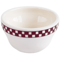 Homer Laughlin 1011791 Maroon Checkers 7.25 oz. Ivory (American White) Unhandled Bouillon Cup - 36/Case