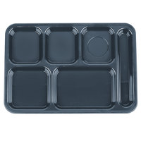Carlisle 614R59 10 inch x 14 inch Slate Blue ABS Plastic Right Hand 6 Compartment Tray