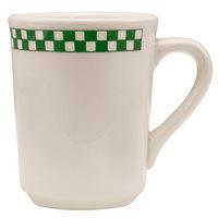 Homer Laughlin 1301708 Green Checkers 8.25 oz. Ivory (American White) Denver Mug - 36/Case